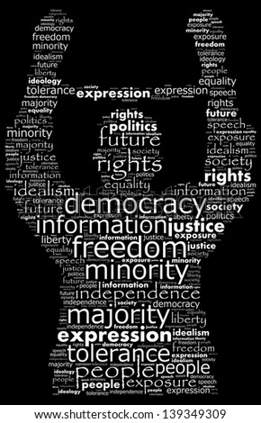 Text collage of suppression in a democratic world - stock photo