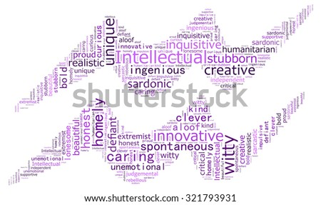 Text collage of the zodiac Aquarius - stock photo