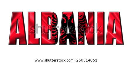 Text concept with Albania waving flag - stock photo