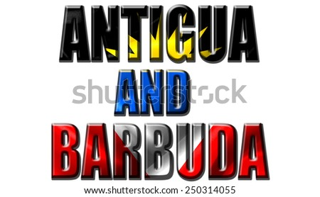 Text concept with Antigua and Barbuda waving flag