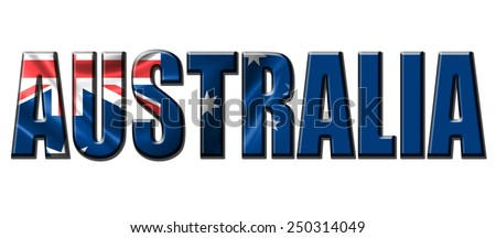 Text concept with Australia waving flag - stock photo