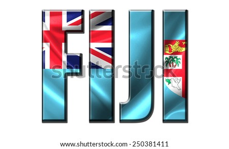 Text concept with Fiji waving flag