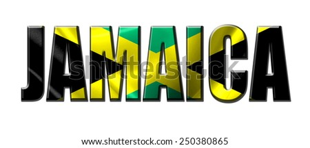Text concept with Jamaica waving flag - stock photo