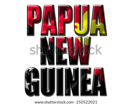 Text concept with Papua New Guinea waving flag - stock photo