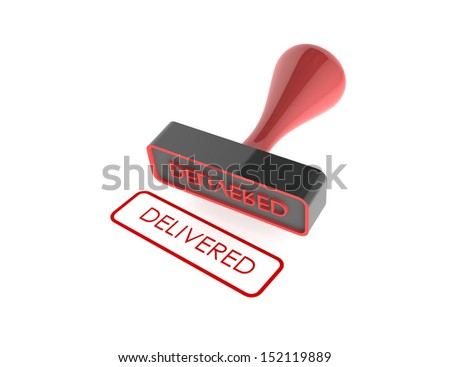 "text "" Delivered "" rubber stamp on white background"