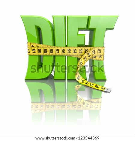 Text Diet and measuring tape on white background. 3d - stock photo