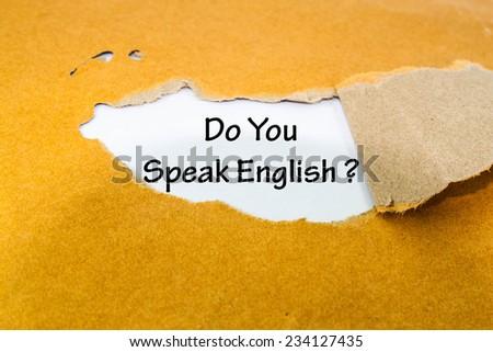 Text do you speak  English on brown envelope  - stock photo