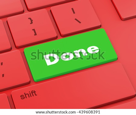 Text done button, 3d rendering - stock photo