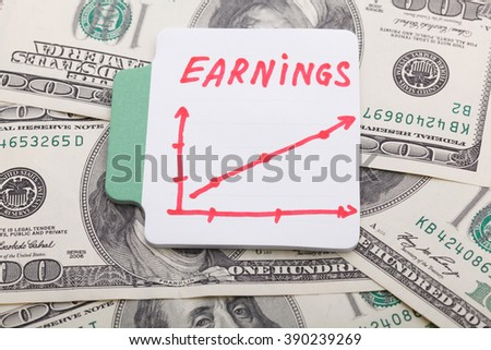 Text - Earnings. With Graphs and diagrams. Business concept.