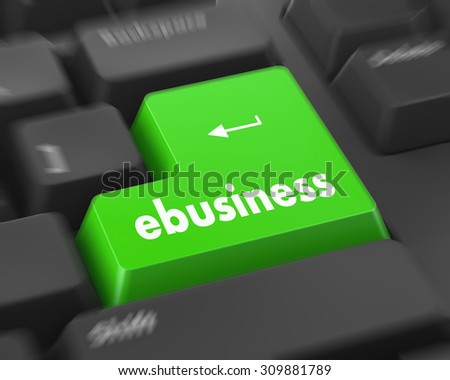 Text ebusiness button 3d render