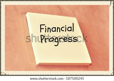 Text financial progress on the short note texture background