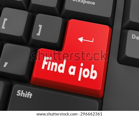 Text find a job button 3d render