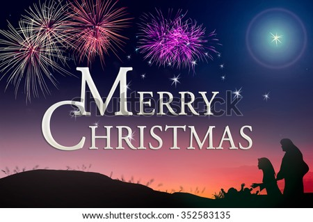 """Text for """"Merry Christmas"""" over colorful night with fireworks and nativity story background. Nativity Happy New Year Forgiveness Mercy Humble Evangelical Glorify Redeemer Card God Blessing concept. - stock photo"""