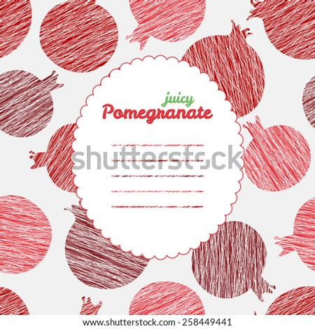 Text frame. Summer harvest background with scratched pomegranates. Repeating backdrop. Endless pear texture. Dessert texture. Harvest template. Can be used as seamless pattern. Fruit card. - stock photo