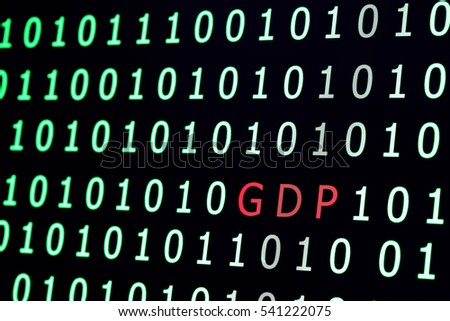 text GDP(gross domestic product) among binary code background,abstract economic concept