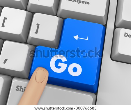 Text go button 3d render