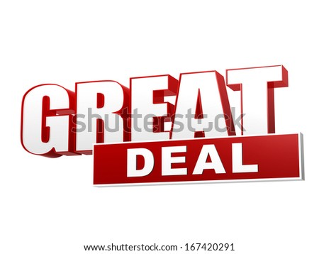text great deal - 3d red white banner, letters and block, business concept - stock photo