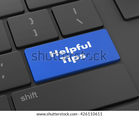Text helpful tips button, 3d rendering - stock photo