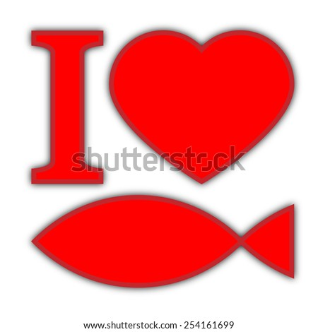 """Text """"I love fish"""", red symbols on white background with shadow - stock photo"""