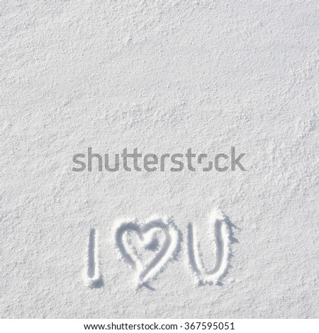 Text I LOVE YOU and heart hand written on snow background. Square valentines postcard template. Space for copy, lettering. - stock photo
