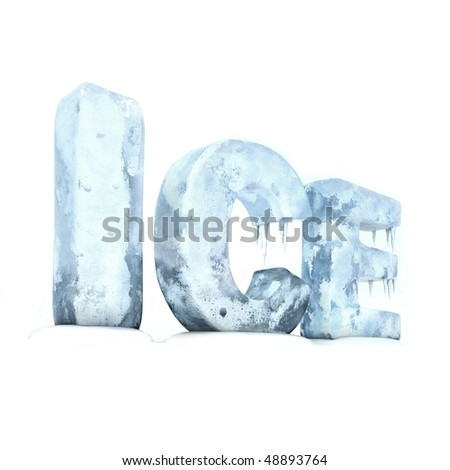 text ice with ice material - stock photo