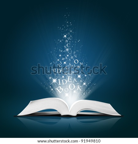 text idea on open white book - stock photo