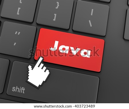 Text java button, 3d rendering