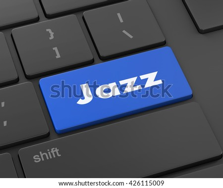 Text jazz button, 3d rendering - stock photo