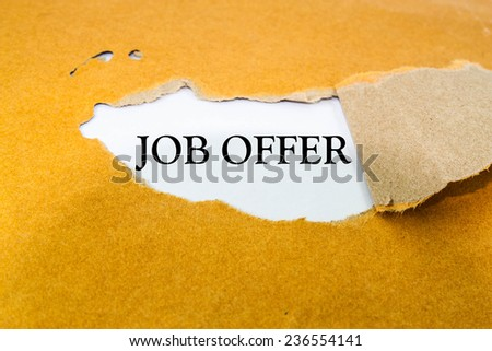 Text job offer on brown envelope  - stock photo