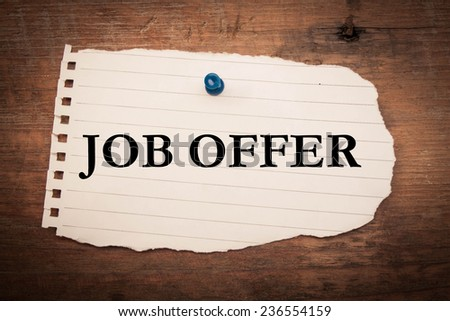 Text job offer on note paper - stock photo
