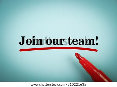 Text Join our team with red underline and red marker aside on the blue background. - stock photo