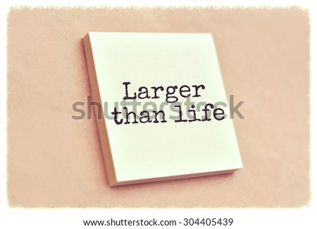 Text larger than life on the short note texture background