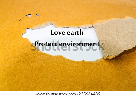 Text love earth protect environment on note paper - stock photo