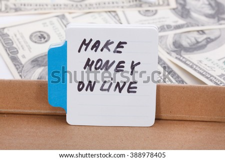 Text - make money on line. Business concept. - stock photo