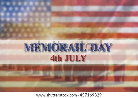 Text Memorial Day on American flag background - stock photo