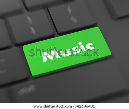 Text music button, 3d rendering