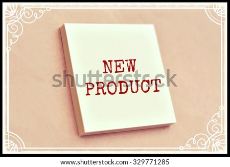 Text new product on the short note texture background - stock photo