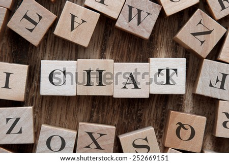 text of CHAT on cubes - stock photo