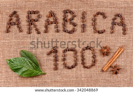 Text of coffee beans hundred percent arabica  - stock photo