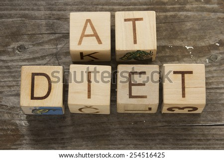 text of DIET on a wooden cubes  - stock photo