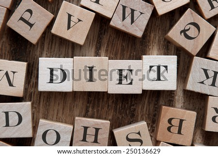 text of DIET on cubes - stock photo