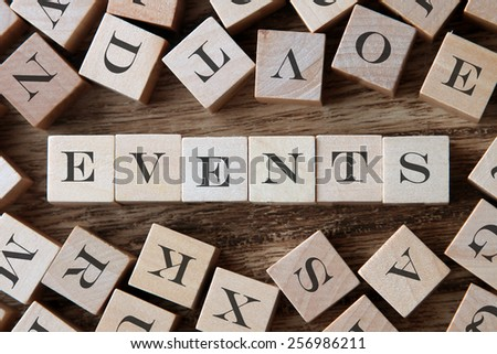 text of EVENTS on cubes - stock photo