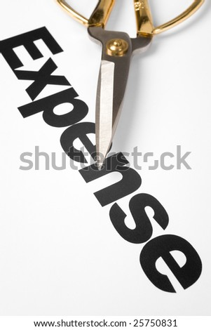 text of Expense and scissors, concept of Expense cut - stock photo