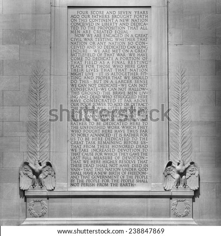 Text of Gettysburg Address scribed on the wall at the Lincoln Memorial in Washington, DC.  President Abraham Lincoln delivered the speech on November 19, 1863. (Black and White) - stock photo