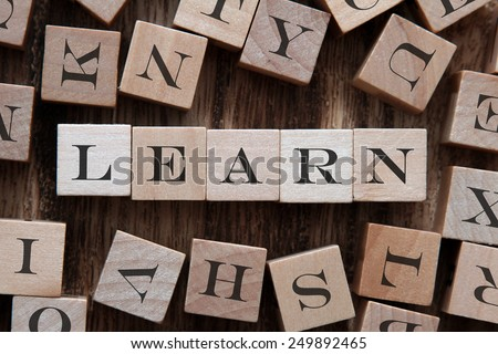 text of LEARN on cubes - stock photo