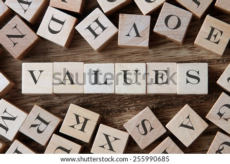 text of VALUES on cubes - stock photo