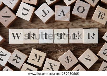 text of WRITER on cubes - stock photo