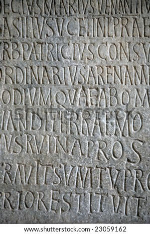 Text on a stone in Coliseum, Rome