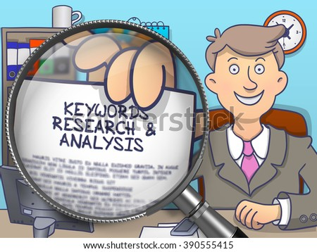 Text on Paper in Businessman's Hand to Illustrate a Keywords Research and Analysis Concept. Closeup View through Magnifying Glass. Multicolor Modern Line Illustration in Doodle Style. - stock photo