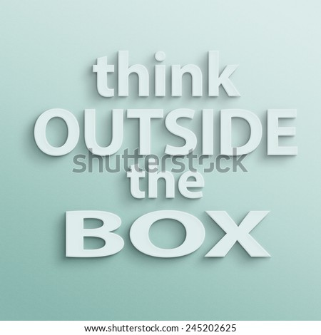 text on the wall or paper, think outside the box - stock photo